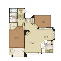 Bell Flatirons One Bedroom with Den A1E Floor Plan