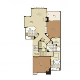 Bell Flatirons Two bedroom 1B2CG-2B2CG Floor Plan